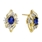 Lab-Created Blue & White Sapphire Cluster Earrings