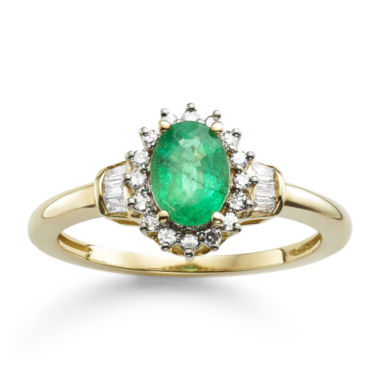 jcpenney.com | Genuine Emerald & 1/4 CT. T.W. Diamond 10K Gold Ring