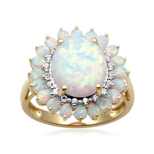 Lab-Created Opal & White Sapphire 14K Gold Over Sterling Silver Ring