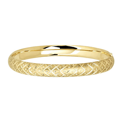 Infinite Gold™ 14K Yellow Gold Textured Hollow Bangle Bracelet