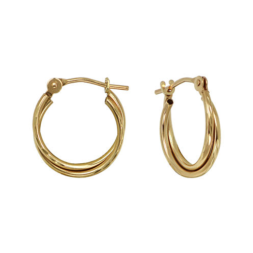Girls 14K Yellow Gold Double Hoop Earrings