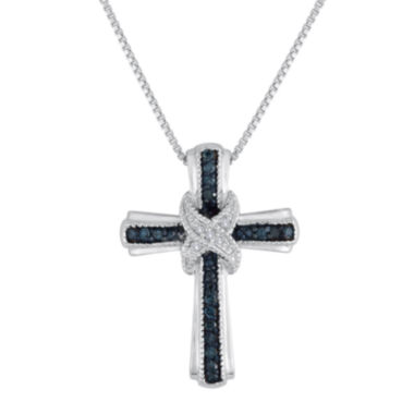 jcpenney.com | 1/10 CT. T.W. White & Color-Enhanced Blue Diamond Cross Pendant Necklace