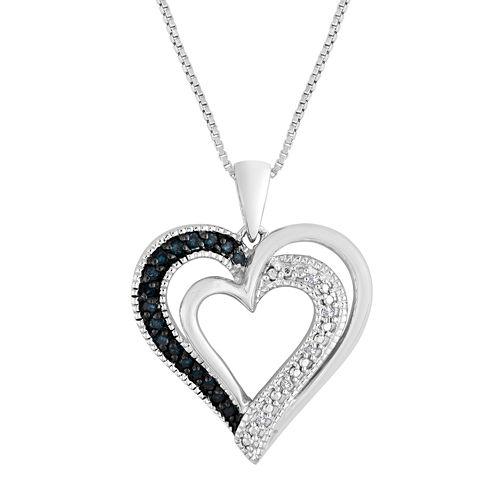 1/10 CT. T.W. White & Color-Enhanced Blue Diamond Heart Pendant Necklace