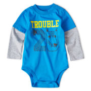 Okie Dokie® Long-Sleeve Sports Bodysuit – Boys newborn-9m