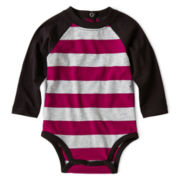 Okie Dokie® Long-Sleeve Striped Raglan Bodysuit – Boys newborn-9m