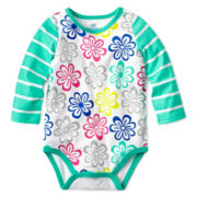 Okie Dokie® Long-Sleeve Print Bodysuit – Girls newborn-9m