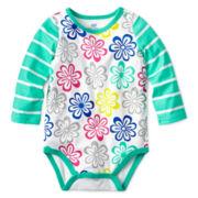 Okie Dokie® Long-Sleeve Print Bodysuit – Girls newborn-9m