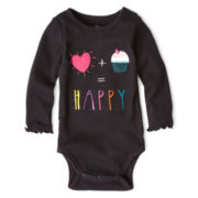 Okie Dokie® Long-Sleeve Graphic Rib-Knit Bodysuit – Girls newborn-9m