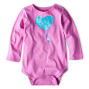 Okie Dokie® Long-Sleeve Glitter Bodysuit – Girls newborn-24m