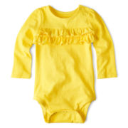Okie Dokie® Long-Sleeve Ruffle Bodysuit – Girls newborn-24m