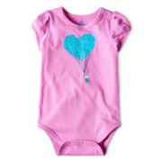 Okie Dokie® Short-Sleeve Glitter Bodysuit – Girls newborn-24m