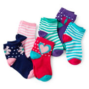 Okie Dokie® 6-pk. Low-Cut Socks - Girls 12m-6
