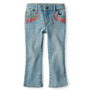 Arizona Embroidered Bootcut Jeans - Girls 2t-6