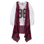 Knit Works Long-Sleeve Tee with Sweater Vest - Girls 7-16 and Plus