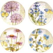 Certified International Herb Garden Set of 4 Dinner Plates