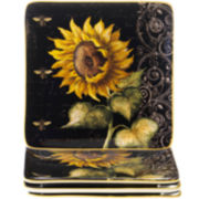 French Sunflowers Set of 4 Salad Plates
