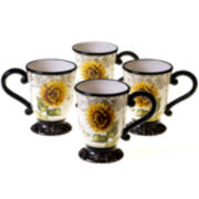 Certified International French Sunflowers Set of 4 Mugs