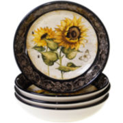 French Sunflowers Set of 4 Soup Bowls
