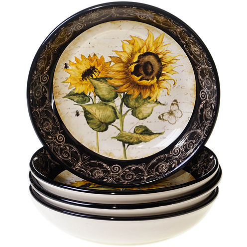 Certified International French Sunflowers Set of 4 Soup Bowls