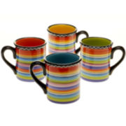Certified International Tequila Sunrise Set of 4 Mugs