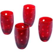 Polka Dot Set of 4 Highball Glasses
