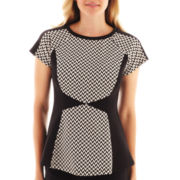 Worthington® Short-Sleeve Colorblock Peplum Top - Tall
