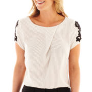 Worthington® Lace-Sleeve Blouse