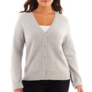 Liz Claiborne® Long-Sleeve Basketweave Cardigan Sweater - Plus