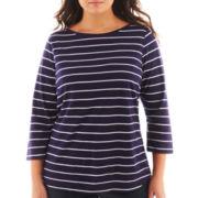 Liz Claiborne® 3/4-Sleeve Boatneck Tee - Plus