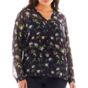 Liz Claiborne® Long-Sleeve Henley Blouse with Cami - Plus