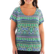 Liz Claiborne® Short-Sleeve Scoopneck Patterned Tee - Plus