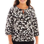 Liz Claiborne 3/4-Sleeve Tie-Neck Print Top - Plus