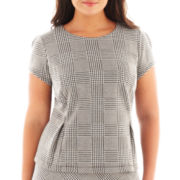 Liz Claiborne Cap-Sleeve Houndstooth Plaid Peplum Top - Plus