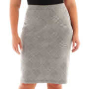 Liz Claiborne Houndstooth Plaid Pencil Skirt - Plus