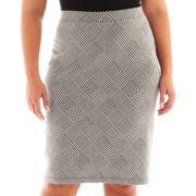 Liz Claiborne® Houndstooth Plaid Pencil Skirt - Plus
