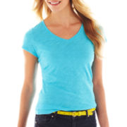 jcp™ Essential Short-Sleeve Relaxed Fit V-Neck Tee - Tall