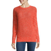 Stylus™ Long-Sleeve Pointelle Textured Sweater - Tall