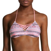 Arizona Mod Dream Coral-Print Bralette Swim Top