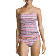 Arizona Mod Dream Coral-Print Tankini Swim Top