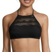 Arizona Black Crochet Halter High-Neck Swim Top
