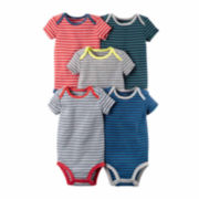 Carter's® 5-pk. Short-Sleeve Stripe Cotton Bodysuits - Baby Girls newborn-24m