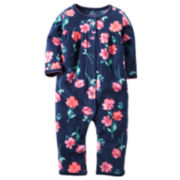 Carter's® Navy Floral Fleece Jumpsuit - Baby Girls newborn-24m
