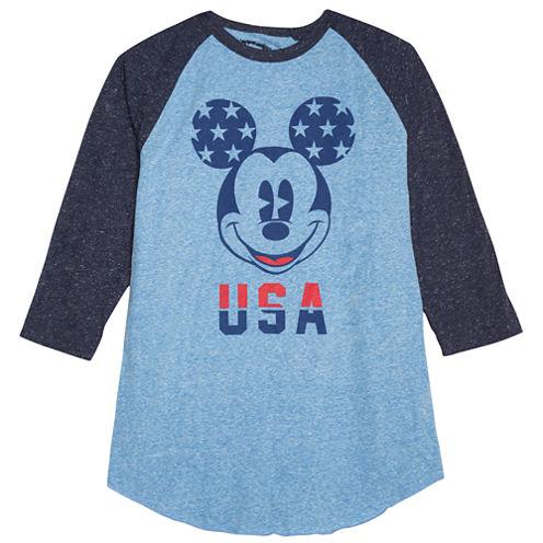 Novelty Season 3/4 Sleeve Mickey Mouse Graphic T-Shirt