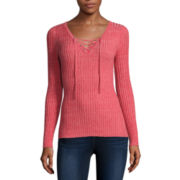 Arizona Long-Sleeve Ribbed Lace-Up Sweater