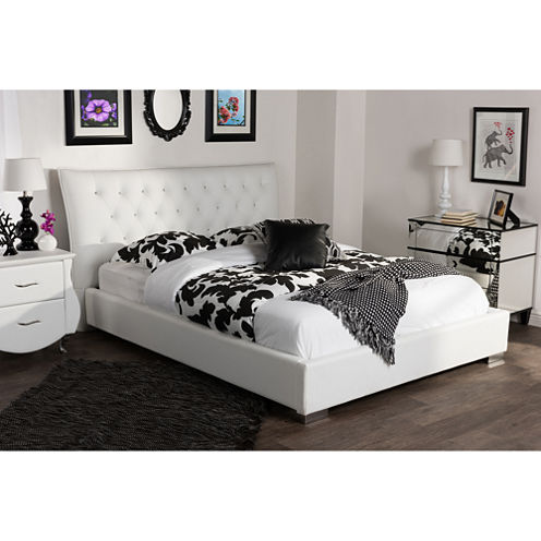 Baxton Studio Marina Faux- Leather Platform Bed with Crystal Buttons