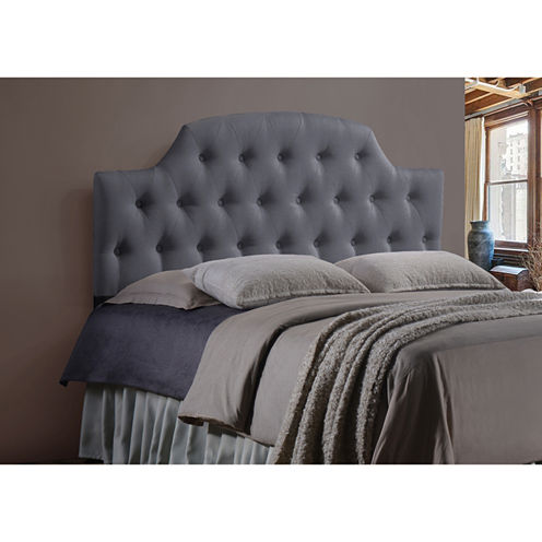 Baxton Studio Morris Upholstered Button-Tufted Scalloped Headboard