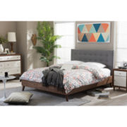 Baxton Studio Alinia Mid-Century Upholstered Walnut Wood Platform Bed