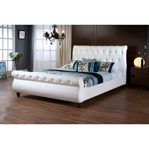 Baxton Studio Ashenhurst Sleigh Bed with Upholstered Headboard