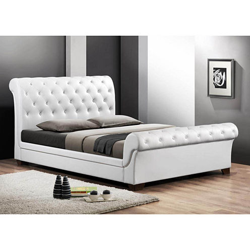Baxton Studio Leighlin Modern Sleigh Bed with Upholstered Headboard