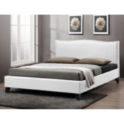 Baxton Studio Battersby  Modern Bed with  Linen Upholstered Headboard